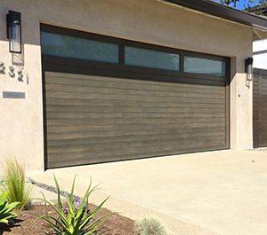 Modern wood plank garage door